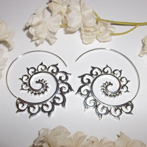 Silver Hoop Earrings Tribal Spiral Boho NWT 4722